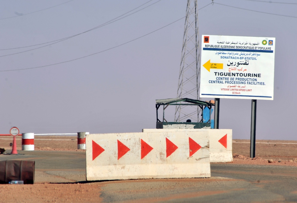 Roadblocks prevent the access of the Tigentourine gas plant where hostages have been kidnapped by Islamic militants, Friday, Jan. 18, 2013. (AP / Anis Belghoul)