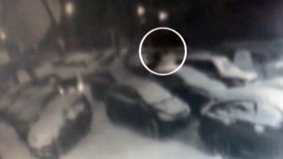 Security cameras capture footage of the attacker as he fled after the acid attack on Friday, Jan. 18, 2013.