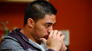 Notre Dame linebacker Manti Te'o pauses during an interview with ESPN in Bradenton, Fla., Friday, Jan. 18, 2013. (AP / ESPN / Ryan Jones)