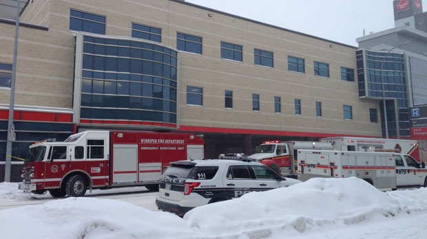 Hazardous Materials vehicles and fire trucks were on scene near the Health Sciences Centre at about 9 a.m.
