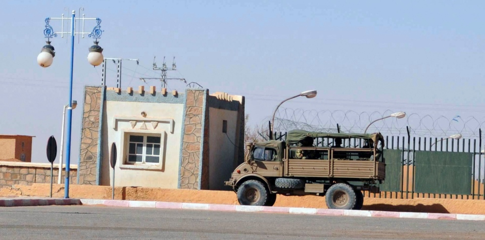 An Algerian army truck is seen in a street of Ain Amenas, near the gas plant where hostages have been kidnapped by Islamic militants on Saturday, Jan. 19, 2013. (AP / Anis Belghoul)