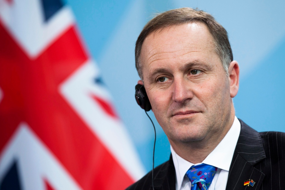 The Prime Minister of New Zealand John Key attends a news conference with German Chancellor Angela Merkel , unseen, after a meeting at the chancellery in Berlin, Germany on Friday, June 8, 2012. (AP / Markus Schreiber)