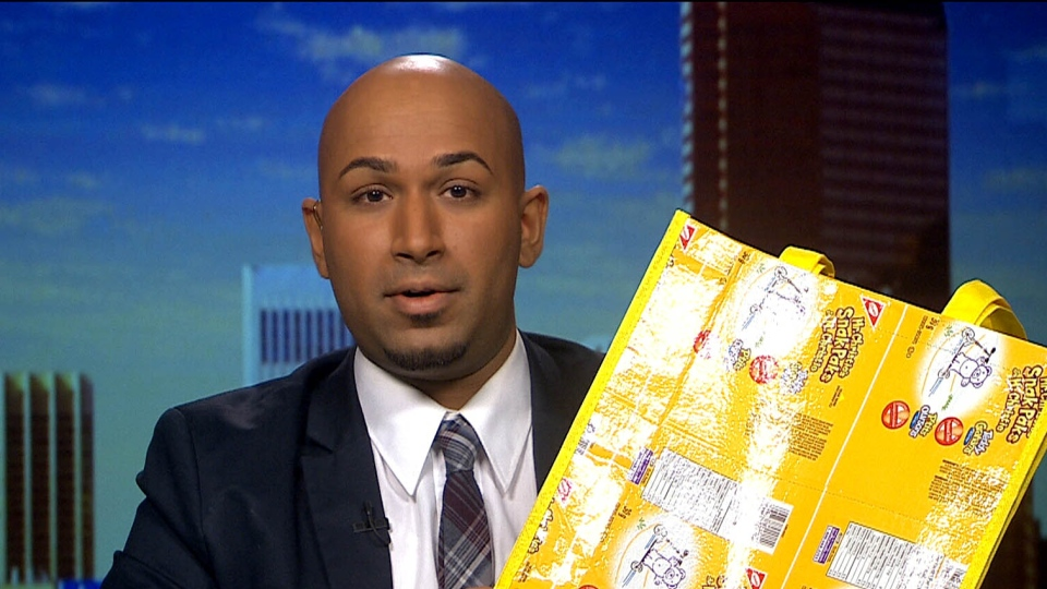 Jay Reyes from TerraCycle showcases a product created from recycled cigarette butts on CTV News Channel, Saturday, Jan. 19, 2013.
