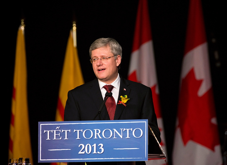 Prime Minister Stephen Harper speaks at a celebration hosted by the Vietnamese Association of Toronto marking the Vietnamese Lunar New Year in Mississauga, Ont., on Saturday, January 19, 2013. THE CANADIAN PRESS/Aaron Vincent Elkaim