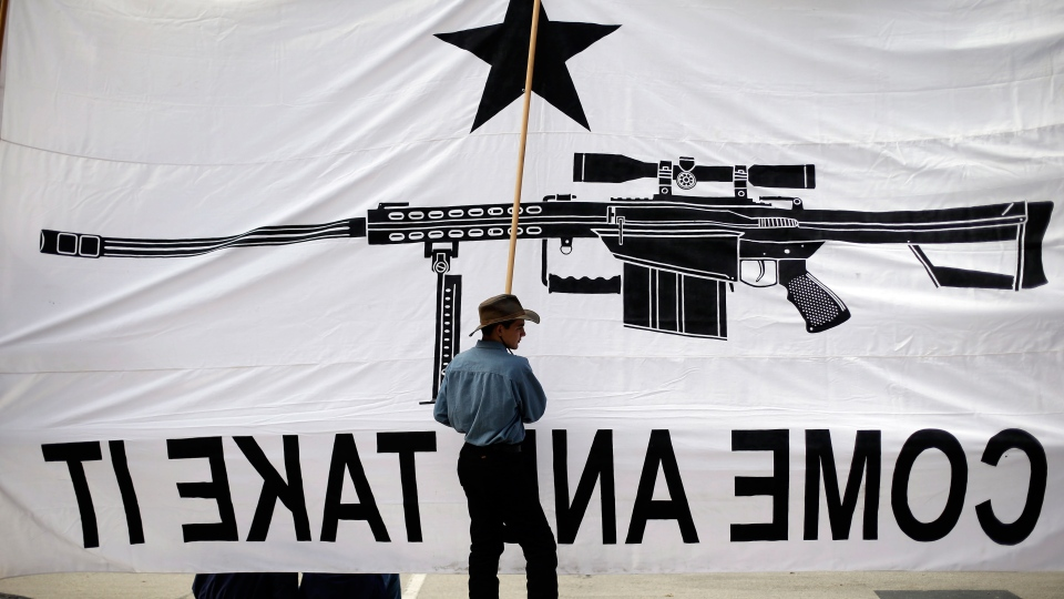 Austin Ehlinger helps hold a banner during a Guns Across America rally at the state capitol in Austin, Texas on Saturday, Jan. 19, 2013. (AP / Eric Gay)