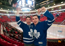 Toronto Maple Leafs' fans cheer on their team at t