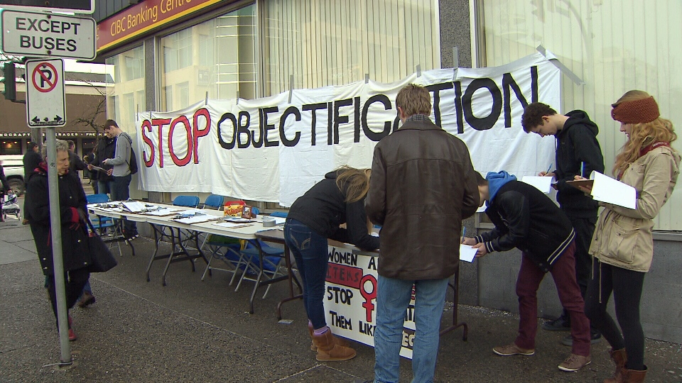 Students petition for the closure of the Paramount Gentlemen's Club citing objectification of women on Jan. 19, 2013. (CTV)