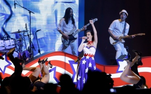"Katy Perry performs during the Kids' Inaugural: Our Children. Our Future."" event in Washington, Saturday, Jan. 19, 2013, as part of the 57th Inauguration weekend of events. (AP / Frank Franklin II)"