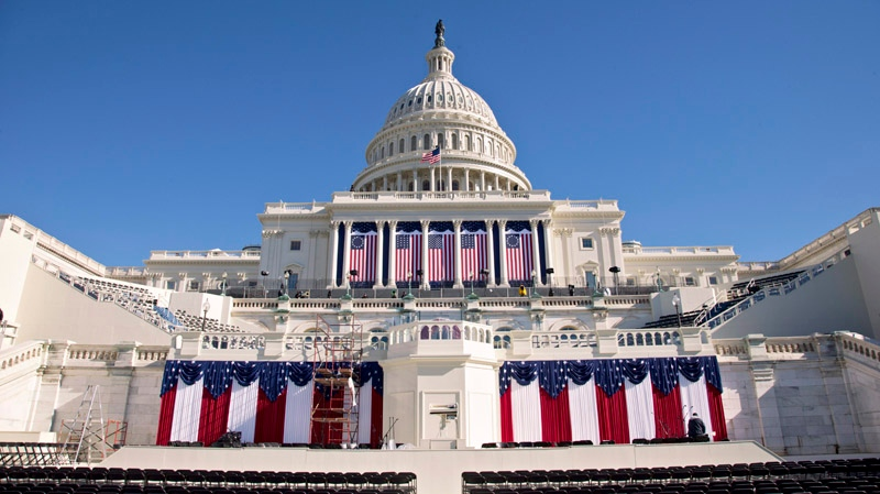 The West Front of the Capitol in Washington is dressed in red, white and blue with two days to go before the 57th Presidential Inauguration and President Obama's second inauguration, Saturday, Jan. 19, 2013. (AP / J. Scott Applewhite)