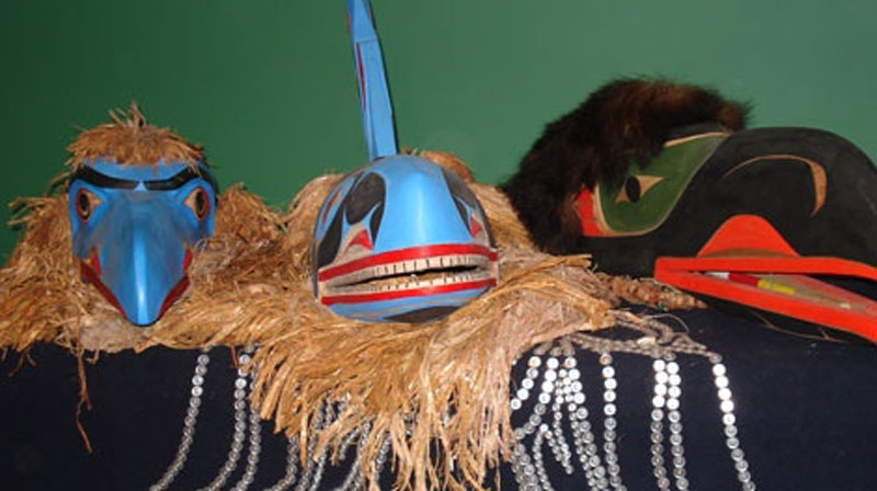 First Nations masks on display. (Handout)
