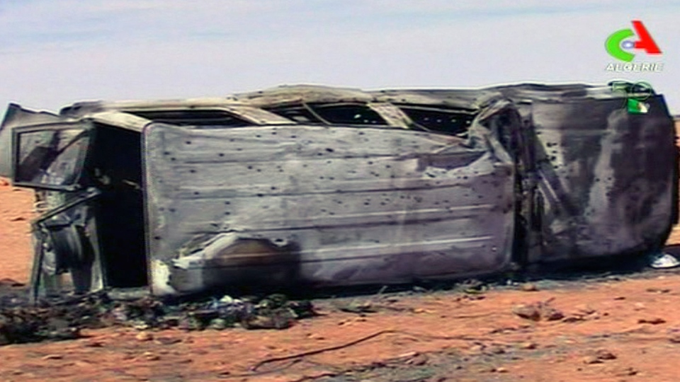 In this image taken from video shows the aftermath of the hostage crisis at the remote Ain Amenas gas facility in Algeria, Sunday, Jan. 20 2013. (Algerie TV)