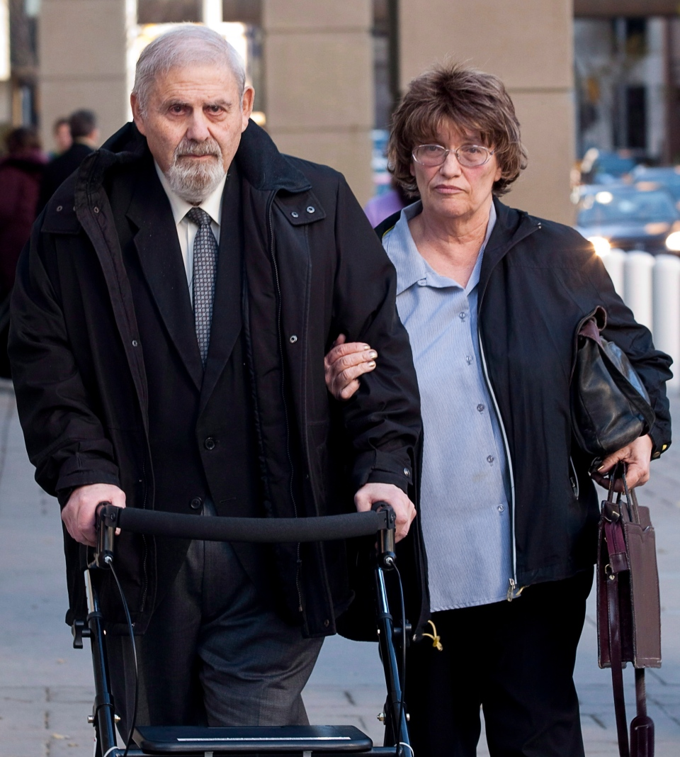 Former court-appointed psychiatrist Aubrey Levin, left, who is accused of sexually assaulting 10 of his patients, leaves court in Calgary, Alta., Monday, Oct. 15, 2012. (THE CANADIAN PRESS/Jeff McIntosh)