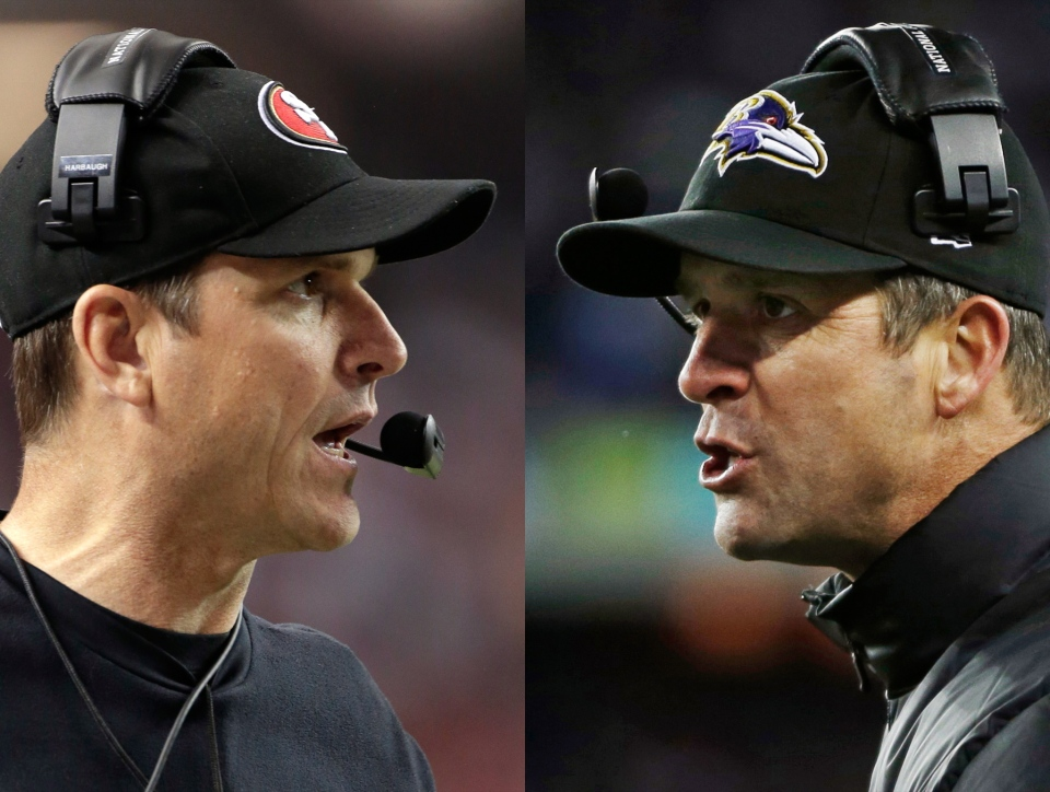 This combo image shows San Francisco 49ers head coach Jim Harbaugh, left, in Atlanta, and Baltimore Ravens head coach John Harbaugh in Foxborough, Mass., during their NFL football conference championship games. (AP / Mark Humphrey, Matt Slocum)