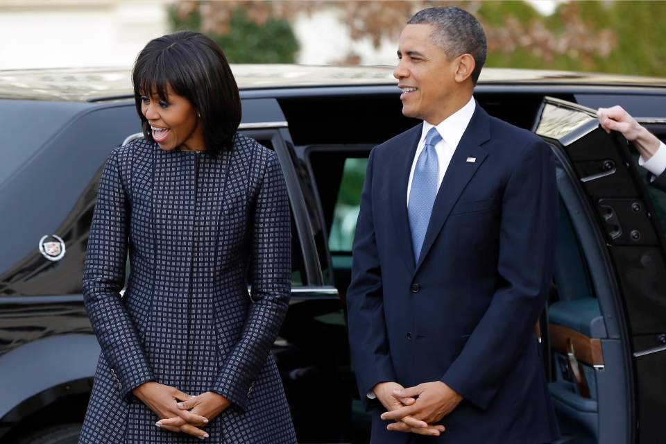 U.S. President Barack Obama and first lady Michelle Obama arrive at St. John's Church in Washington, Monday, Jan. 21, 2013, for a church service during the 57th Presidential Inauguration. (AP / Jacquelyn Martin)