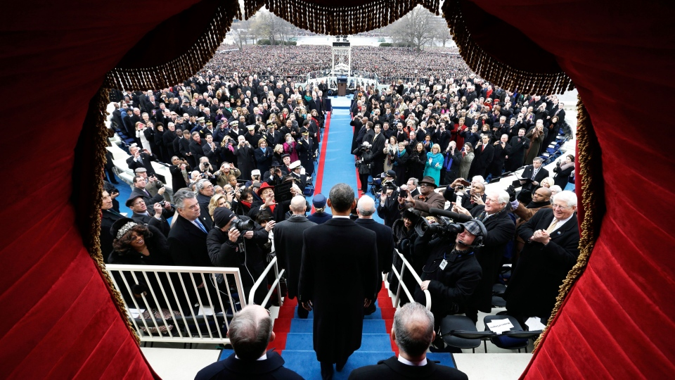 U.S. President Barack Obama arrives at the ceremonial swearing-in at the U.S. Capitol during the 57th Presidential Inauguration in Washington, Monday, Jan. 21, 2013. (AP / Evan Vucci)