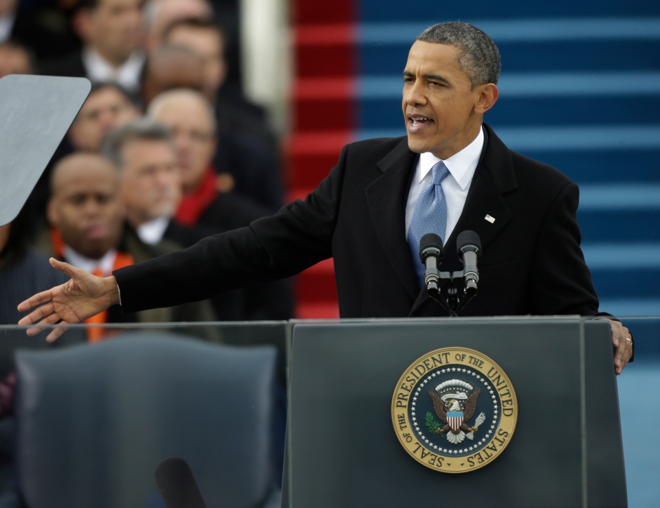 U.S. President Barack Obama speaks at his ceremonial swearing-in at the U.S. Capitol during the 57th Presidential Inauguration in Washington, Monday, Jan. 21, 2013. (AP Photo/Pablo Martinez Monsivais)