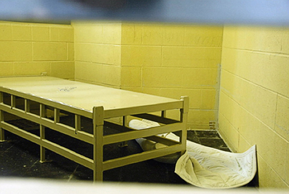 The inside of the prison where Ashley Smith was held, in Kitchener, Ont. is shown on Oct. 19, 2007 in an court exibit photo released by the court on Monday Jan. 21, 2013. ( D-Cst. D. Buckley )