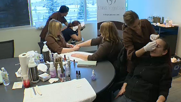 A local radio station battled the Monday blues by holding a number of different events for Edmontonians - including giving out free manicures and massages.