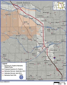 Map of new route for the Canada-linked Keystone XL