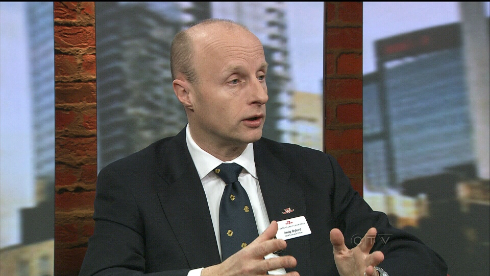 TTC CEO Andy Byford speaks with CP24 about the debate on baby strollers on TTC vehicles in Toronto, Tuesday, Jan. 22, 2013.