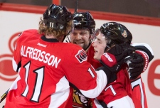 Ottawa Senators players celebrate Jan. 21, 2013.