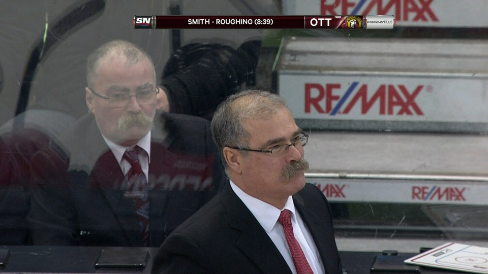 Mike Watson, right, and Ottawa Senators' coach Paul MacLean at the Sens' home opener against the Florida Panthers on Monday Jan. 21, 2013.