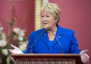 Quebec Premier Pauline Marois speaks at a ceremony marking the 65th anniversary of the Quebec Fleur de Lys flag on Jan. 21, 2013. (Jacques Boissinot/THE CANADIAN PRESS)
