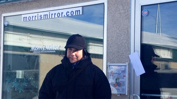 Niigaan Sinclair stands outside of the Morris Mirror's office on Jan. 22, 2013 in Morris, Man.