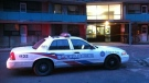 A police cruiser is pictured at the scene of a shooting in Toronto on Saturday, Dec. 25, 2010. (Tom Podolec / CTV News)