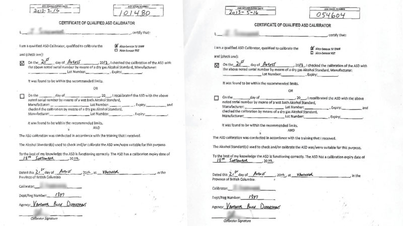 CTV obtained identical copies of breath test calibration forms, including an officer's signature, that were used for four different drunk driving cases. (Paul Doroshenko)