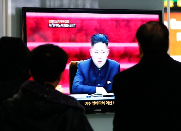 Kim Jong Un on a TV in Seoul on Jan. 23, 2013.