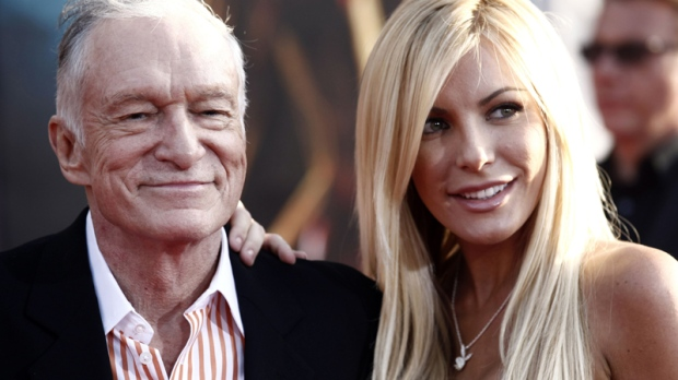 Hugh Hefner and Crystal Harris arrive at the premiere of 'Iron Man 2' at the El Capitan Theatre in Los Angeles on April 26, 2010. (AP / Matt Sayles)