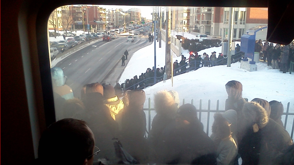 There were problems on multiple train lines this morning. In this photo taken by Philip Risacher, people line up in vain at the Bois Franc station in an attempt to get aboard. He said one train never showed up (Jan. 23, 2013)