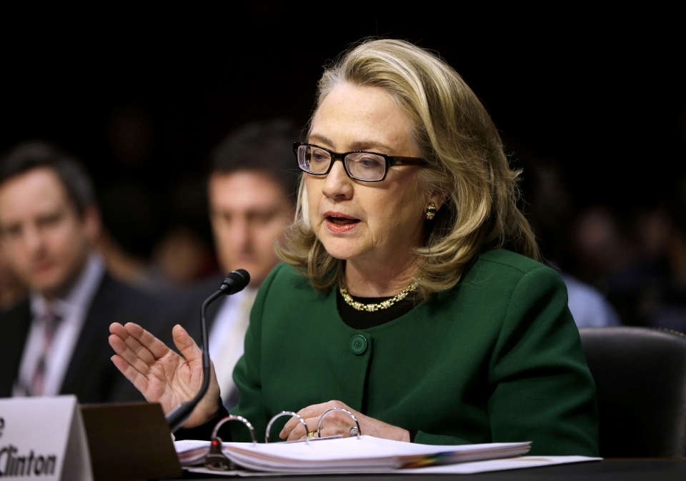 U.S. Secretary of State Hillary Rodham Clinton testifies on Capitol Hill in Washington, Wednesday, Jan. 23, 2013. (AP / Pablo Martinez Monsivais)