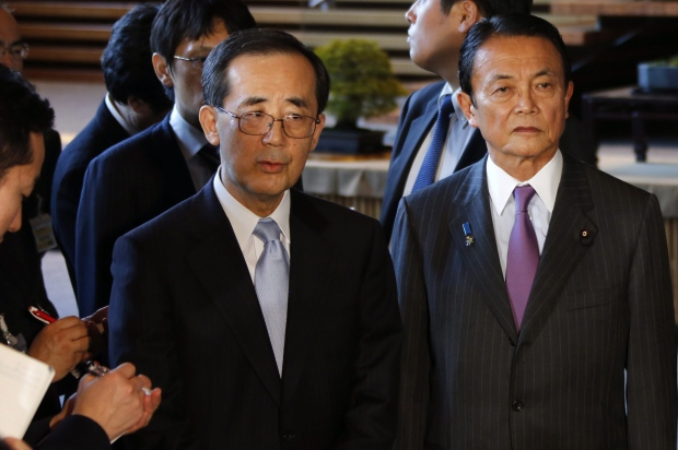Masaaki Shirakawa, left, and Taro Aso.