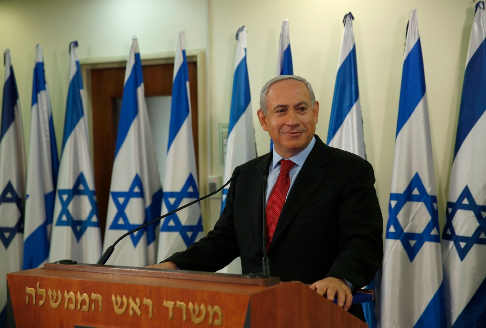 Israel's Prime Minister Benjamin Netanyahu pauses while delivering a statement at his office in Jerusalem, Wednesday, Jan. 23, 2013. (AP Photo/Darren Whiteside, Pool)