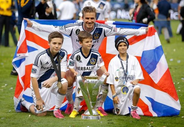 David Beckham &, from left, Brooklyn, Romeo, Cruz