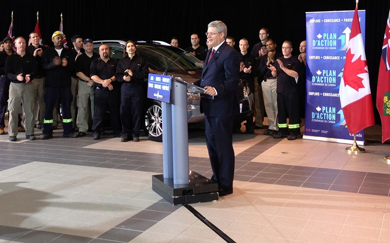 Prime Minister Stephen Harper announces funding for Toyota in Cambridge, Ont., on Wednesday, Jan. 23, 2013. (Corey Baird / CTV Toronto)