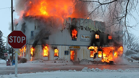 The hotel in Dominion City burns down on Christmas Day. Photo submitted by  Yness Boily.