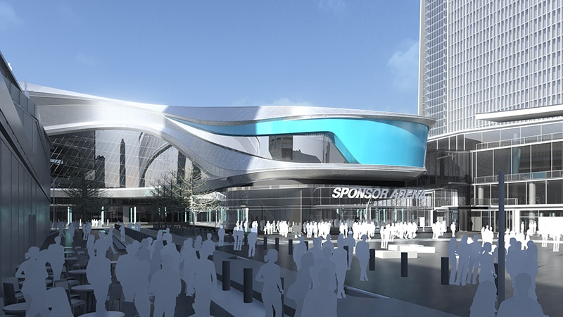 Edmonton city council voted in favour of a recommended design for the proposed downtown arena on Wednesday, Jan. 23. This rendering shows a view of the plaza. Supplied.