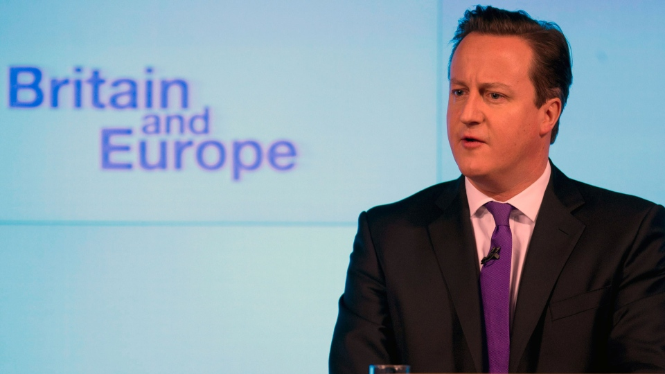 Britain's Prime Minister David Cameron makes a speech on having a referendum on staying in the European Union in London, Wednesday, Jan. 23, 2013. (AP Photo / Matt Dunham)