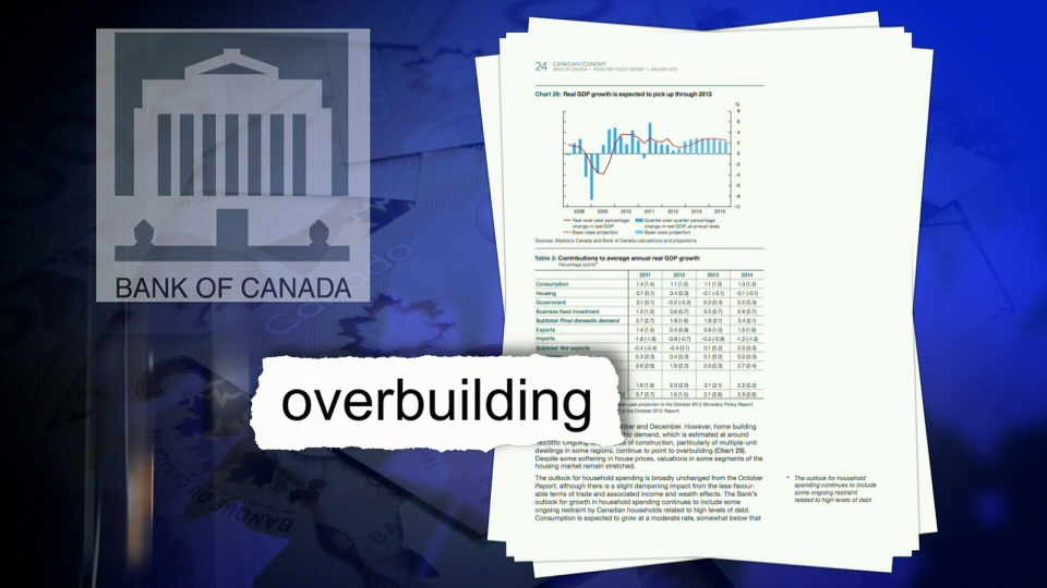 A Bank of Canada report warns that 'overbuilding' of condos in Toronto and Vancouver could soften the housing market.