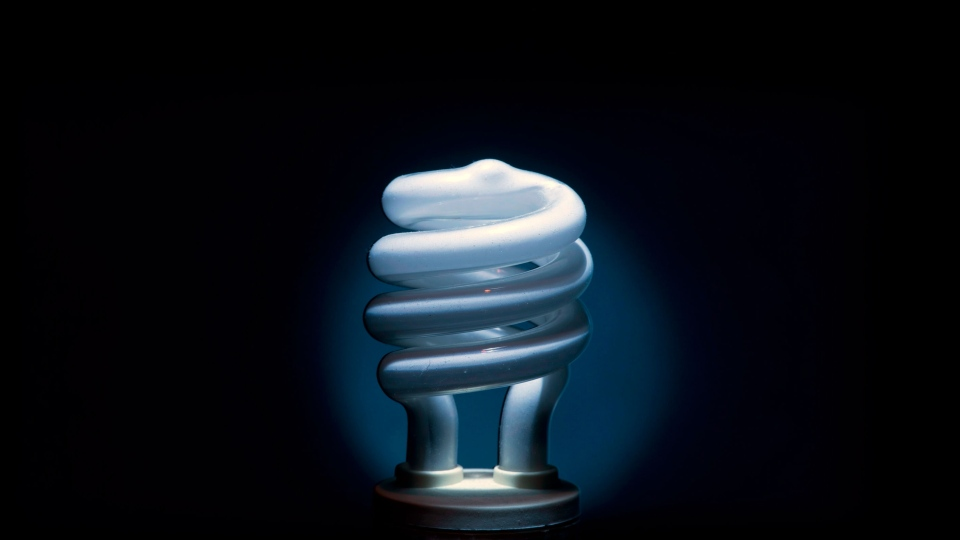 A compact fluorescent light bulb, or CFL. (THE CANADIAN PRESS/Adrian Wyld.)