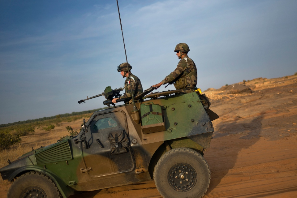 French soldiers patrol in armored vehicles, in the outskirts of Sevare, Mali, Wednesday, Jan. 23, 2013. (AP / Thibault Camus)