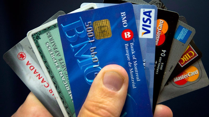 Credit cards are displayed in Montreal, Wednesday, December 12, 2012. (Ryan Remiorz / THE CANADIAN PRESS)