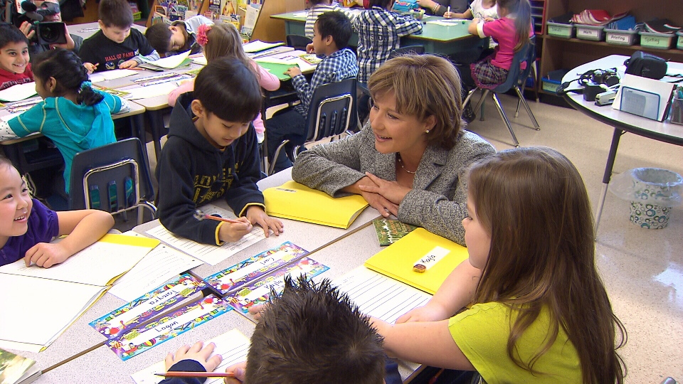 Premier Christy Clark meets with students inside a classroom at a B.C. school. (CV)