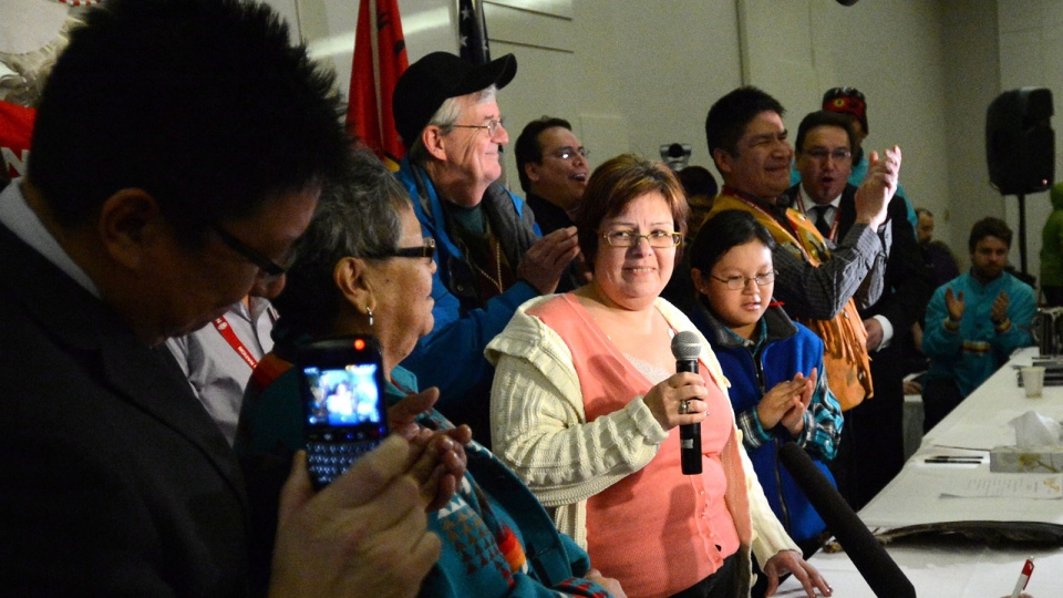 Attawapiskat Chief Theresa Spence speaks at a news conference after being released from hospital following an overnight stay, in Ottawa on Thursday, Jan. 24, 2013. (Sjean Kilpatrick / THE CANADIAN PRESS)