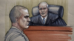 In this courtroom sketch, David Coleman Headley, 52, left, appears before U.S. District Judge Harry Leinenweber at federal court in Chicago, Thursday, Jan. 24, 2013. (AP / Tom Gianni)