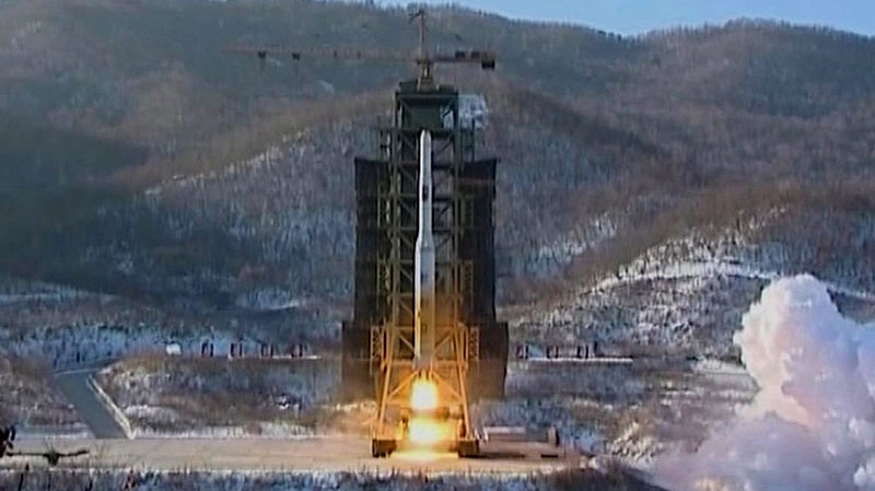 North Korea's Unha-3 rocket lifts off from the Sohae launching station in Tongchang-ri, North Korea, Dec. 12, 2012. (KRT via AP Video)