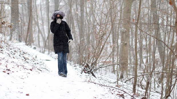 A woman walks through a ravine in Toronto's east end on Tuesday, Jan. 22, 2013. (The Canadian Press/Chris Young)